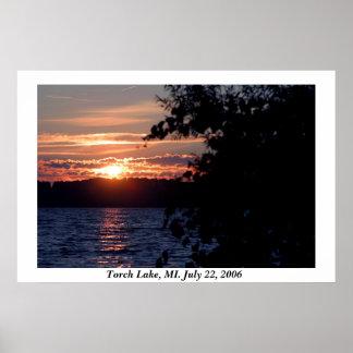 Torch Lake Sunset Poster