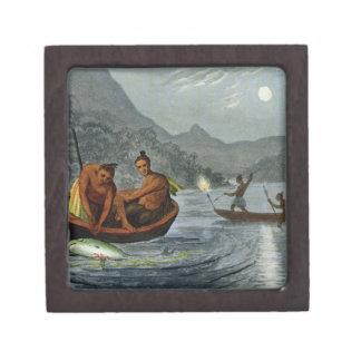 Torch Light Fishing in North America, engraved by Keepsake Box