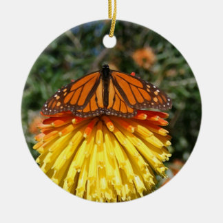 Torch Lily and Monarch Ceramic Ornament