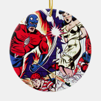 Torch Man and Torch Boy Ceramic Ornament