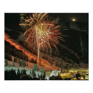 Torchlight parade and fireworks during Winter Poster