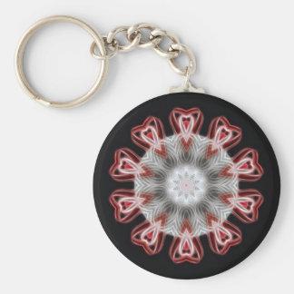 Torcido 1 arte rojo 1 del caleidoscopio llavero redondo tipo pin