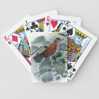 Tordo de madera en una ramita cartas de juego