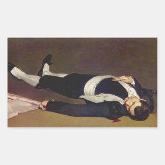 Torero muerto de Eduardo Manet Pegatina Rectangular