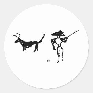 Torero y Bull Etiqueta Redonda
