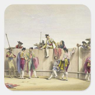 Toreros que descansan entre los toros, 1865 (color calcomanias cuadradas