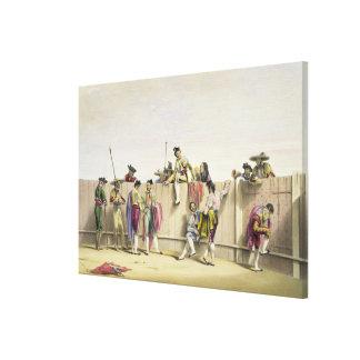 Toreros Reposing between the Bulls, 1865 (colour l Canvas Print