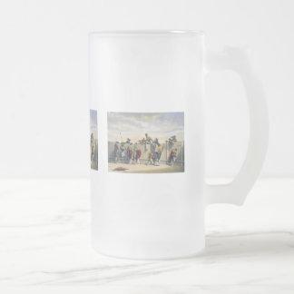 Toreros Reposing Between the Bulls Frosted Glass Beer Mug