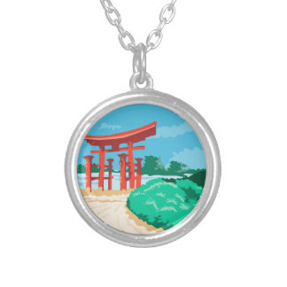 Torii Japanese Gate WPA Silver Plated Necklace