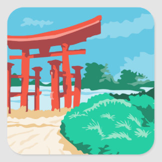 Torii Japanese Gate WPA Square Sticker