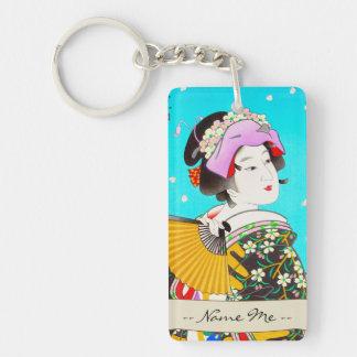 Torii Kiyomitsu Moon Flower Japanese Lady portrait Double-Sided Rectangular Acrylic Keychain