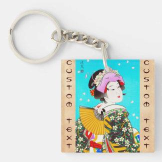 Torii Kiyomitsu Moon Flower Japanese Lady portrait Double-Sided Square Acrylic Keychain