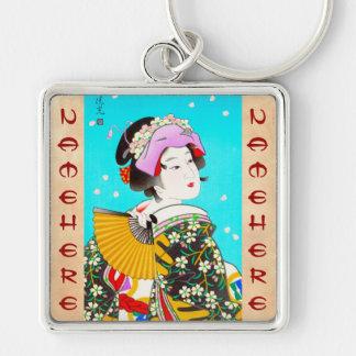 Torii Kiyomitsu Moon Flower Japanese Lady portrait Key Chains