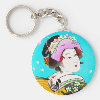 Torii Kiyomitsu Moon Flower Japanese Lady portrait Keychains