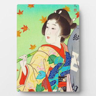 Torii Kiyomitsu Snow Moon Flower Autumn Lady Plaque