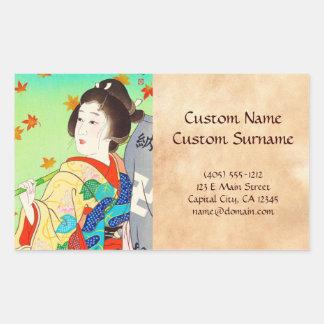 Torii Kiyomitsu Snow Moon Flower Autumn Lady Rectangular Stickers