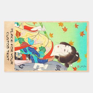 Torii Kiyomitsu Snow Moon Flower Autumn Lady Rectangle Stickers