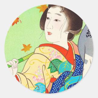 Torii Kiyomitsu Snow Moon Flower Autumn Lady Round Stickers