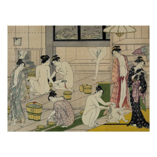 Torii Kiyonaga bathhouse women Poster
