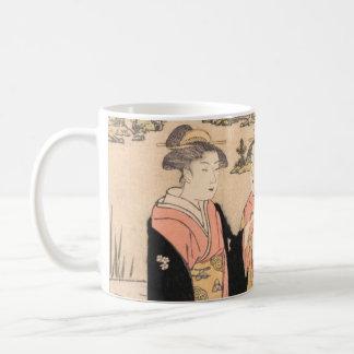 Torii Kiyonaga dos mujeres en un arte del japonés Taza