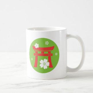 Torii naranja y verde tazas de café