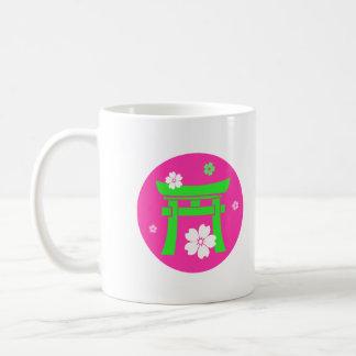 Torii verde y rosa tazas