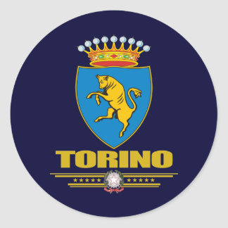 Torino Turín Etiqueta Redonda