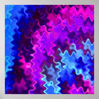 Tormenta azul y púrpura ondulada bonita póster