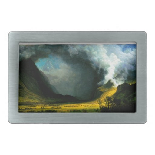 Tormenta de Albert Bierstadt en las montañas Hebillas De Cinturon