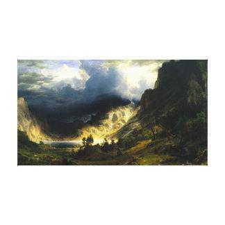 Tormenta de Bierstadt en las montañas rocosas Impresiones En Lienzo Estiradas