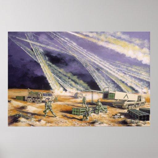Tormenta de desierto de acero de la lluvia de Fran Póster