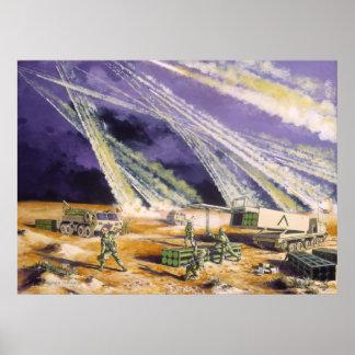 Tormenta de desierto de acero de la lluvia Missles Póster