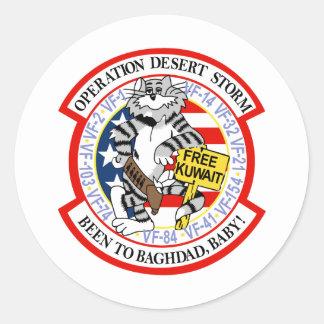 Tormenta de desierto de operación de F-14 Tomcat Pegatina Redonda