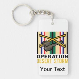 Tormenta de desierto del aguijón de la caballería llavero rectangular acrílico a una cara