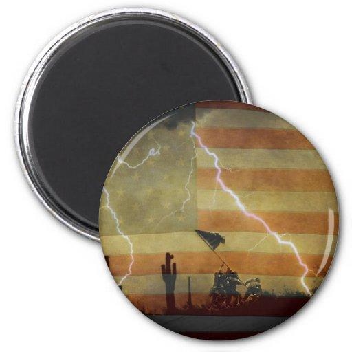 Tormenta de desierto patriótica imán redondo 5 cm