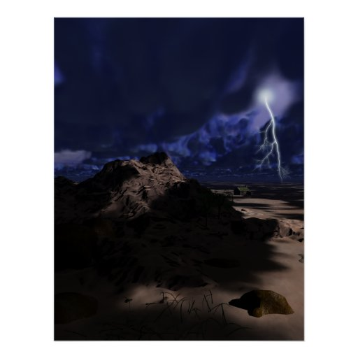 Tormenta de la iluminación de la montaña del desie poster