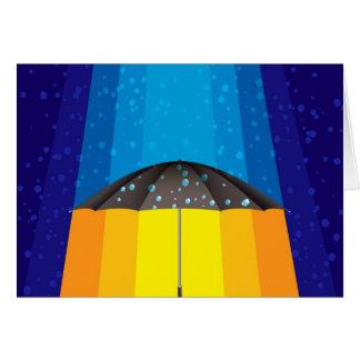 Tormenta de la lluvia en un día soleado tarjeta de felicitación