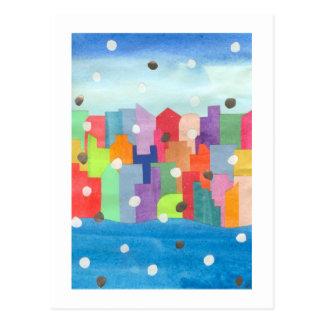 Tormenta de la nieve de la ciudad tarjeta postal
