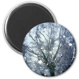 Tormenta de la nieve de la tarde en la foto del in imán de frigorifico