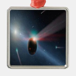 Tormenta del cometa adorno navideño cuadrado de metal