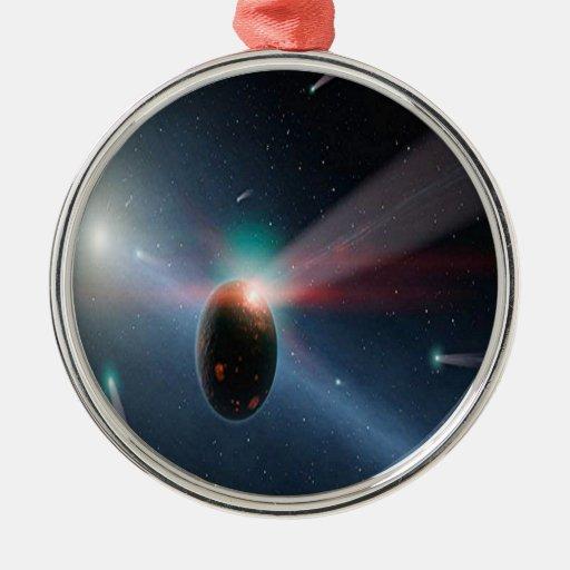 Tormenta del cometa adorno redondo plateado