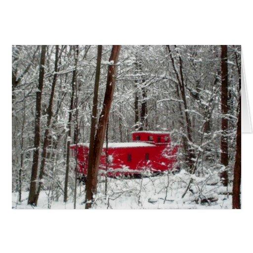 Tormenta del invierno, Caboose rojo, día de fiesta Felicitación