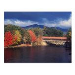 Tormenta del otoño del puente cubierto del río de postal