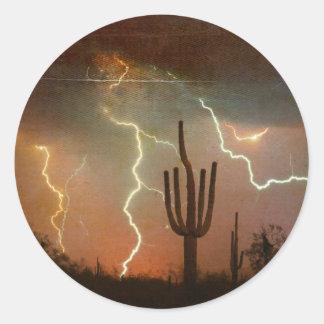 Tormenta del relámpago del Saguaro Pegatina Redonda