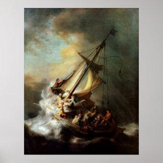 Tormenta en el mar del poster de Galilea