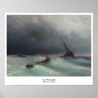Tormenta en el waterscape del paisaje marino de Iv Poster