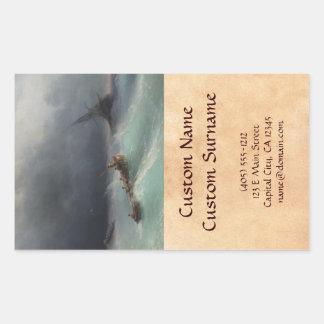 Tormenta en el waterscape del paisaje marino de pegatina rectangular