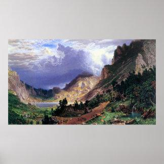 Tormenta en los Rockies, Mt. Rosalía por Bierstadt Póster