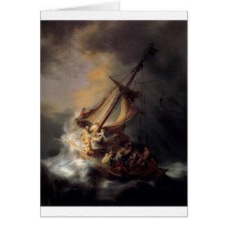 -Tormenta-en--Mar-de-Galilea-por-Rembrandt-furgone Tarjeta De Felicitación