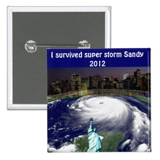 Tormenta estupenda Sandy 2012, ojo del storm_ Pin Cuadrada 5 Cm